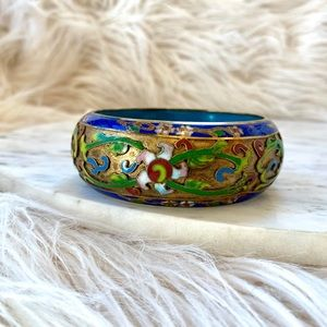 Jewelry - VINTAGE Cloisonné Wide Bangle Bracelet